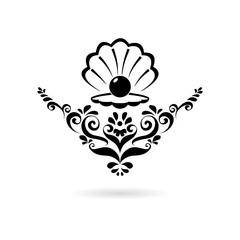 Black Sea Pearl in open shell, floral ornament icon or logo