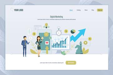 Digital marketing. Analysis of financial statistics, economic indicators, online business.