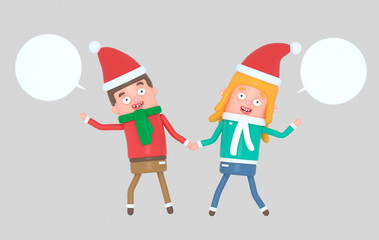 Young couple celebrating Christmas.