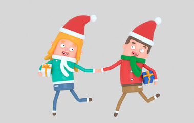 Christmas Young couple running with gifts.