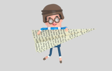 Young boy playing with a big  paper plane.
