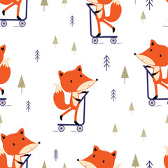 pattern with cute fox