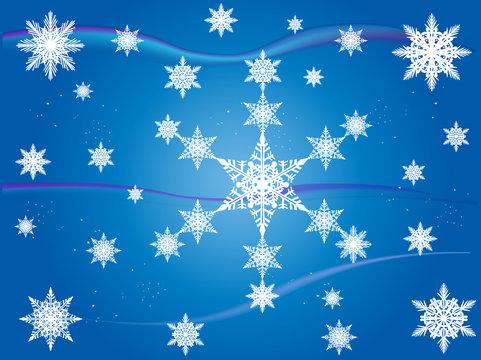 white large snowflakes on blue background