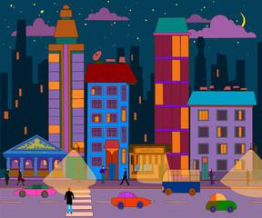 hand-drawn evening city landscape. Vector illustration.