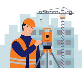 Surveyor, theodolite, house under construction and сonstruction crane. Geodetic works. Cadastral engineer. Vector illustration in flat and cartoon style.