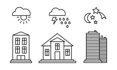 City buildings and with weather icons, sunny, rainy weather, day, night linear vector Illustration on a white background