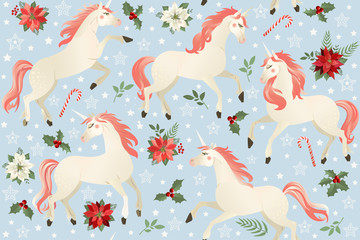 Unicorns on a Christmas floral background. Seamless pattern.