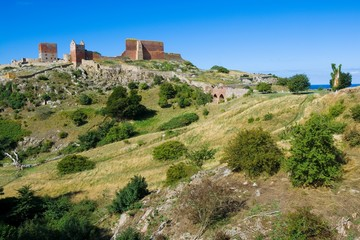 Photo sur Aluminium Chateau Hammershus castle - the biggest Northern Europe castle ruins situated at steep granite cliff on the Baltic Sea coast, Bornholm, Denmark