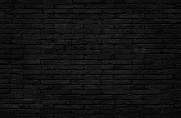 Old dark black brick wall texture with vintage style for background and design art work. Wall mural