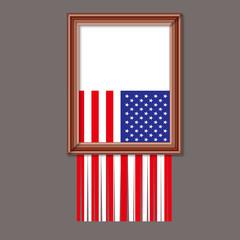 DRAPEAU USA - Cadre Dechire