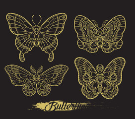 Stylised golden butterflies on black background. Vector moth illustration line art style. Design for tattoo or t shirt graphic.