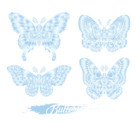 Stylised blue butterflies isolated on white background. Decorative moth graphic design. Vector illustration.