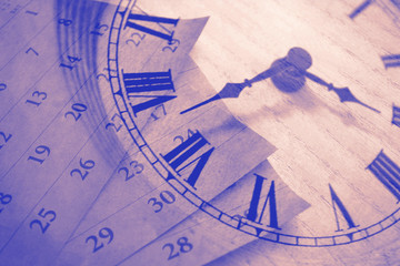 Vintage clock and calendar, time concept Fotobehang