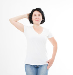 middle age woman in t-shirt on white background. Mock up for design. Copy space. Template. Blank