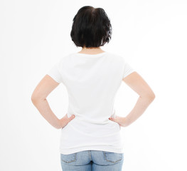 back view middle age woman in tshirt on white background. Mock up for design. Copy space. Template. Blank