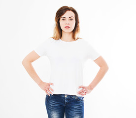 Front view sexy woman in t shirt isolated on white background.Mock up for design. Copy space. Template. Blank