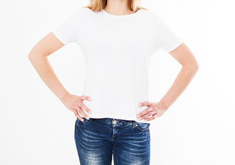 back views of girl,woman in t shirt on white background. Mock up for design. Template. Blank