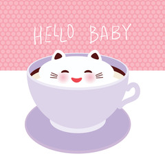 Hello baby. Cute Kawai cat in lilac cup of froth art coffee, isolated on white pink polka dot wall background. Latte Art 3D. milk foam top on the cup of hot coffee or chocolate. Vector