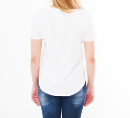 cropped portrait of woman in t-shirt on white background.Mock up for design. Copy space. Template. Blank