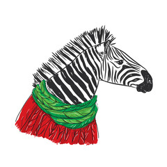Zebra portrait, Christmas red knitted sweater and a green scarf. Sketch drawing. Black contour on a white background. Vector