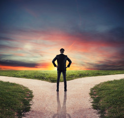 Choices of a businessman at a crossroads. Concept of decision