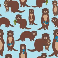 Seamless pattern Funny brown otters with fish on blue background. Kawaii animals. Vector