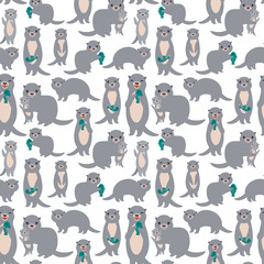Seamless pattern Kawaii grey otters family with children with fish on white background. Vector