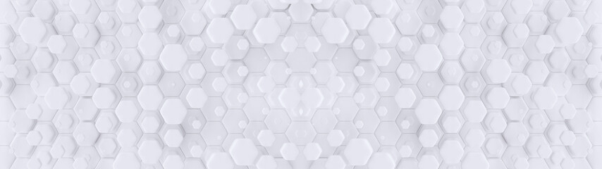 Hexagonal geometric background. Abstract structure of lots of different height hexagons. Creative honeycomb surface. Top view. Cell elements pattern. 3d rendering	 Wall mural