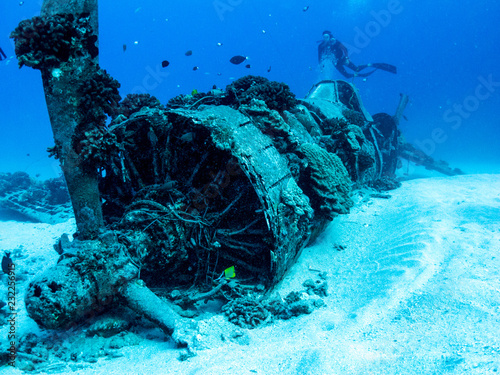 Underwater Plane Wreck from World War 2 - Scuba diving in