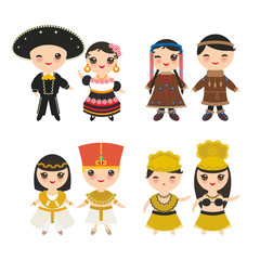Mexican, Ancient Egypt, Hawaiian Hula Dancer, Chukcha Yakut Eskimos, boy and girl in national costume and hat. Cartoon children in traditional dress. Isolated on white background. Vector