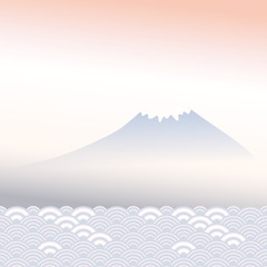 Mount Fuji, dawn, fog, mountain landscape, blue grey pink colors card banner design for text abstract scales simple Nature background with japanese circle pattern. Vector