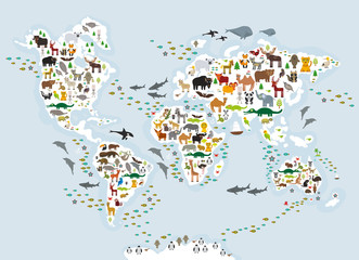 Cartoon animal world map for children and kids, Animals from all over the world, white continents and islands on blue grey background of ocean and sea. Vector