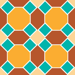 Moroccan seamless pattern, Morocco. Patchwork mosaic with traditional folk geometric ornament orange blue brown. Tribal oriental style. Vector