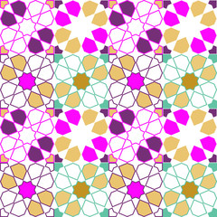 Moroccan seamless pattern, Morocco. Patchwork mosaic with traditional folk geometric ornament gold pink beige purple blue lilac. Tribal oriental style. For fabrics, wallpapers, websites. Vector