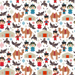 Seamless pattern Mongolian boy and girl national costume. Cartoon children in traditional dress. Hunter, hunting with an eagle, camel, traditional dwellings, such as the yurt and the tent. Vector