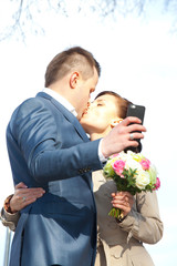 beautiful bride and groom make selfie