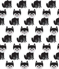 seamless pattern Kawaii funny black gray husky dog, face with large eyes and pink cheeks, isolated on white background. Vector