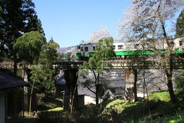 月光寺の桜・只見線(福島県・柳津町)