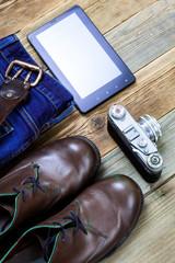 traveler set with digitizer, rangefinder camera, woolen sweater and brown boots