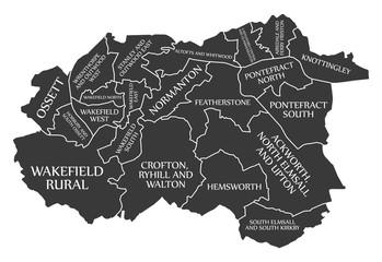 Wakefield City Map England UK labelled black illustration