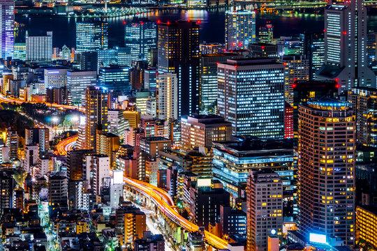 tokyo tower and city skyline under blue night
