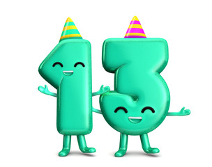 Happy 13th Birthday cute party character with hat. 3D Rendering