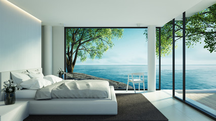 Beach bedroom interior - Modern & Luxury in vacation / 3D render image
