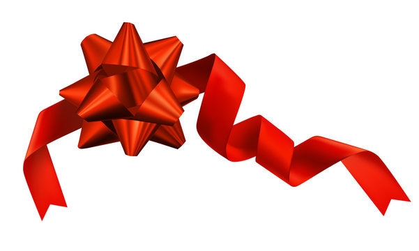 Vector realistic beautiful red gift bow and silk reebon Christmas decorative element for design of packaging