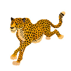 Vector funny cartoon running cheetah big wild cat animal, children alphabet illustration letter C, three cuarters view