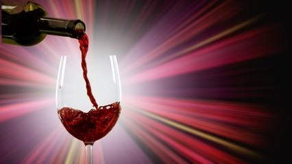 Red wine glass  on  background