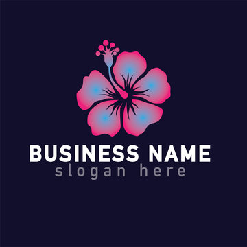 Hibiscus flower logo icon vector template