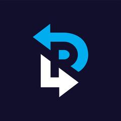 R Letter Arrow logo icon vector template