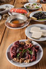 Traditional Turkish Breakfast on Wooden Table