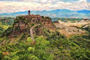 Painting of town Civita in Italy